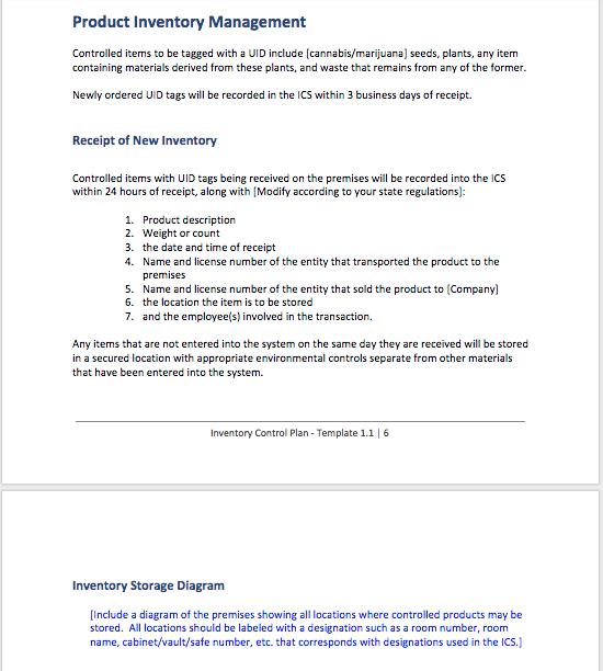 Marijuana Inventory Plan