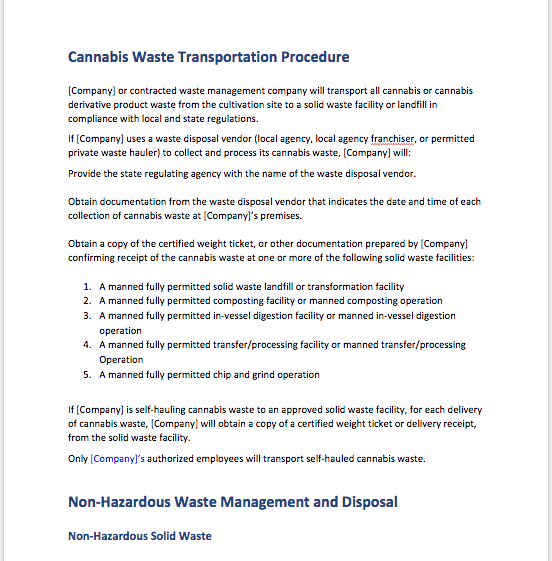 cannabis waste plan